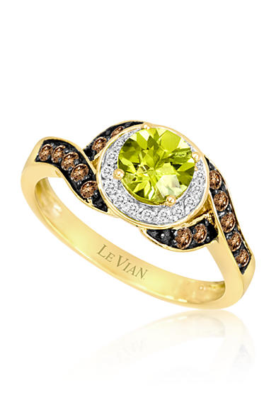 Le Vian® Green Apple Peridot, Vanilla Diamonds, and Chocolate Diamonds Wave Ring set in 14k Honey Gold