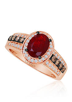 Le Vian® Neon Tangerine Fire Opal®, Chocolate Diamond®, and Vanilla Diamond® Ring in 14k Strawberry Gold®