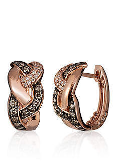 Le Vian® Chocolate Diamond® and Vanilla Diamond® Weave Hoop Earrings in 14k Strawberry Gold®