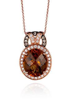 Le Vian® 14k Strawberry Gold® Caramel Quartz™ Vanilla Diamond® and Chocolate Diamond® Pendant
