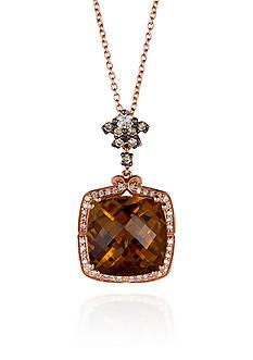 Le Vian® 14k Strawberry Gold® Caramel Quartz™, Vanilla Diamond®, and Chocolate Diamond® Pendant