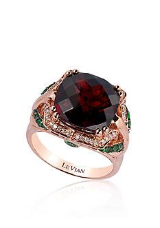 Le Vian 14k Strawberry Gold® Pomegranate Garnet™, Forest Green Tsavorite™, and Vanilla Diamond® Ring