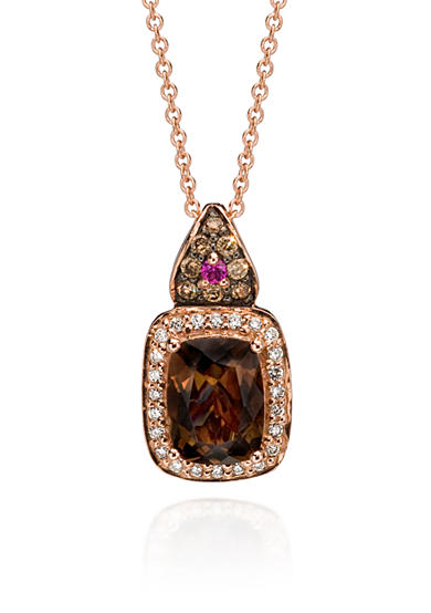 Le Vian® 14k Strawberry Gold® Chocolate Quartz®, Vanilla Diamond®, Chocolate Diamond®, and Pink Sapphire Pendant