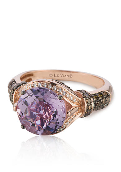Le Vian® Candy Colors Amethyst®, Chocolate Diamond®, and Vanilla Diamond® Ring in 14k Strawberry Gold®