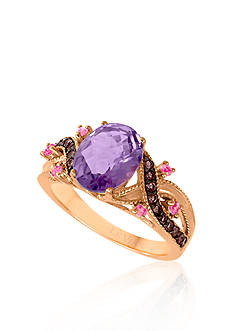Le Vian 14k Strawberry Gold® Cotton Candy Amethyst®, Smokey Quartz and Pink Sapphire Ring