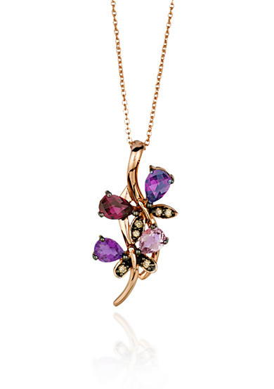 Le Vian® 14k Strawberry Gold® Raspberry Rhodolite®, Pink Tourmaline, Candy Colors Amethyst® and Chocolate Diamond® Pendant