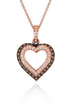 Le Vian Chocolate Diamond® and Vanilla Diamond® Heart Pendant in 14k Strawberry Gold®