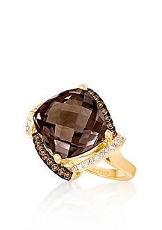 Le Vian 14k Vanilla Gold® Chocolate Quartz®, Chocolate Diamond®, and Vanilla Diamond® Ring