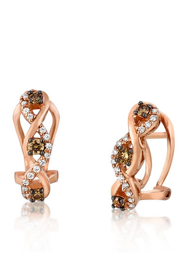 Le Vian® Chocolate Diamond® and Vanilla Diamond® Earrings in 14k Strawberry Gold®