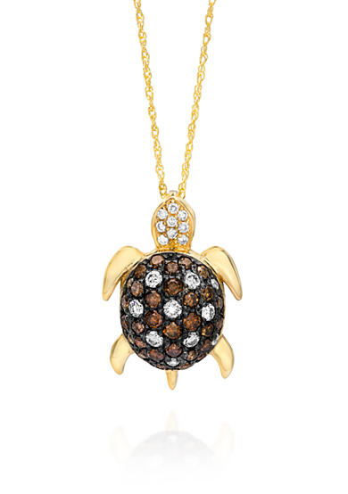 Le Vian® Chocolate Diamond® and Vanilla Diamond® Turtle Pendant in 14k Honey Gold™