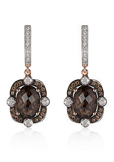 Le Vian® Chocolate Quartz®, Chocolate Diamond®, and Vanilla Diamond® Earrings in 14k Strawberry Gold®