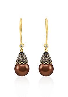 Le Vian® 14k Honey Gold ™ Tahitian Chocolate Pearl®, Chocolate Diamond® and Vanilla Diamond™ Earrings