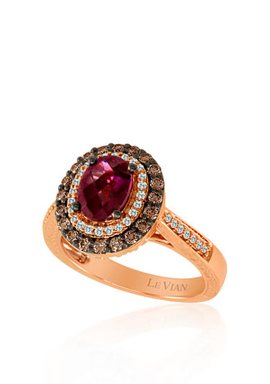 Le Vian® 14k Strawberry Gold® Raspberry Rhodolite®, Chocolate Diamond® and Vanilla Diamond™ Ring