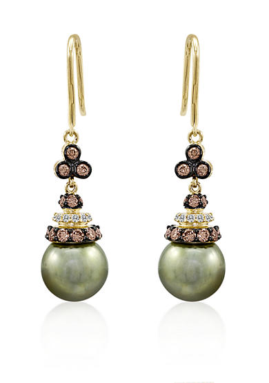 Le Vian® Pistachio Pearl™, Chocolate Diamond®, and Vanilla Diamond® Earrings in 14k Green Gold