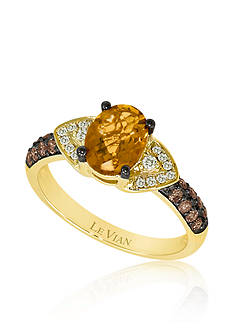 Le Vian Cinnamon Citrine, Vanilla Diamonds, and Chocolate Diamonds Ring in 14k Honey Gold