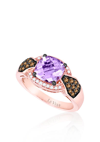 Le Vian® 14k Strawberry Gold® Cotton Candy Amethyst®, Chocolate Diamond® and Vanilla Diamond™ Ring