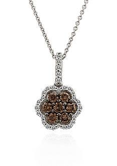 Le Vian® Chocolate Diamond® and Vanilla Diamond™ Flower Pendant in 14k Vanilla Gold™
