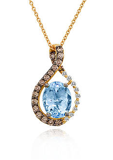 Le Vian 14k Strawberry Gold® Aquamarine, Vanilla Diamond™ and Chocolate Diamond® Pendant
