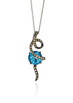 Le Vian 14k Vanilla Gold®, Ocean Blue Topaz™, and Chocolate Diamond® Swirl Pendant