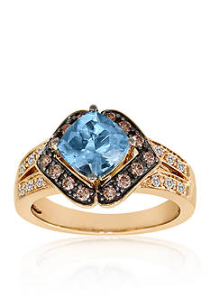 Le Vian Sea Blue Aquamarine, Chocolate Diamonds, and Vanilla Diamonds Ring in 14k Strawberry Gold