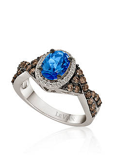 Le Vian Ocean Blue Topaz™, Vanilla Diamond®, and Chocolate Diamond® Ring in 14k Vanilla Gold®