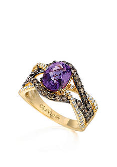 Le Vian 14k Honey Gold™ Candy Colors Amethyst®, Chocolate Diamond® and Vanilla Diamond® Ring