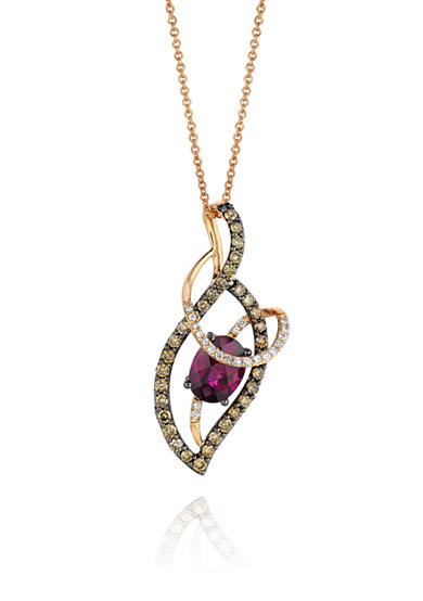 Le Vian® 14k Strawberry Gold® Raspberry Rhodolite®, Chocolate Diamond®, and Vanilla Diamond® Swirl Pendant
