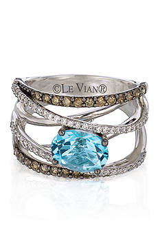 Le Vian® 14k Vanilla Gold® Sea Blue Topaz™, Chocolate Diamond®, and Vanilla Diamond® Ring