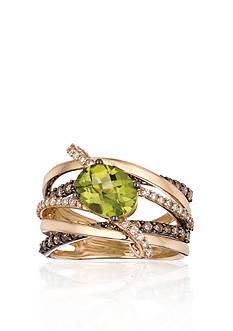 Le Vian 14k Honey Gold™ Green Apple Peridot™, Chocolate Diamond® and Vanilla Diamond™ Ring