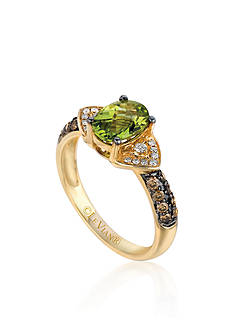 Le Vian Green Apple Peridot™, Chocolate Diamond®, and Vanilla Diamond® Ring in 14k Honey Gold™