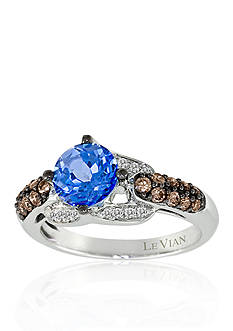 Le Vian Sky Blue Topaz, Vanilla Diamond®, and Chocolate Diamond® Ring in 14K Vanilla Gold®