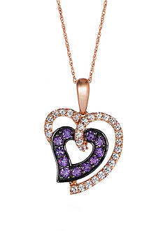 Le Vian 14k Strawberry Gold® Candy Colors Amethyst® and White Sapphire Pendant