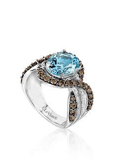 Le Vian® Sea Blue Aquamarine®, Chocolate Quartz® and Vanilla Diamond® Ring in 14k Vanilla Gold®