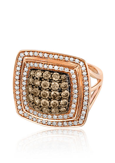 Le Vian® Rectangular Chocolatier Diamond Ring set in 14K Strawberry Gold