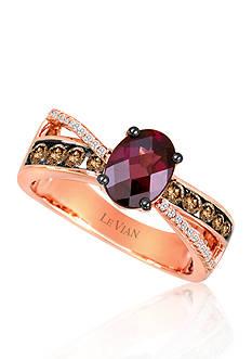 Le Vian® Raspberry Rhodolite, Vanilla Diamonds, and Chocolate Diamonds Gladiator Ring set in 14k Strawberry Gold