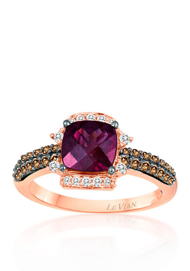 Le Vian® 14k Strawberry Gold® Raspberry Rhodolite®, Chocolate Diamond®, and Vanilla Diamond® Ring