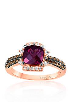 Le Vian® 14k Strawberry Gold® Raspberry Rhodolite®, Chocolate Diamond®, and Vanilla Diamond® Ring