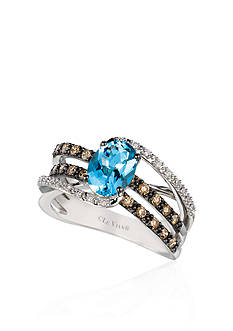 Le Vian® 14k Vanilla Gold™ Sea Blue Aquamarine®, Chocolate Diamond® and Vanilla Diamond™ Ring