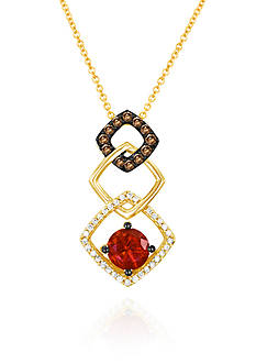Le Vian 14k Strawberry Gold® Neon Tangerine Fire Opal®, Chocolate Diamond®, and Vanilla Diamond® Geometric P