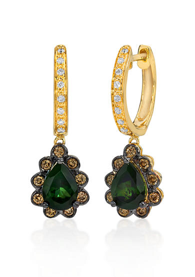 Le Vian® 14k Honey Gold™ Hunters Green Tourmaline™, Chocolate Diamond®, and Vanilla Diamond® Earrings