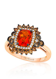 Le Vian Neon Tangerine Fire Opal, Vanilla Diamonds, and Chocolate Diamonds Ring set in 14k Strawberry Gold