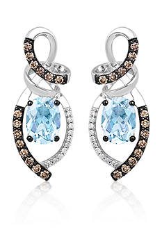 Le Vian Sea Blue Aquamarine, Vanilla Diamonds, and Chocolate Diamonds Chocolatier Drop Earrings in 14k Vanilla Gold