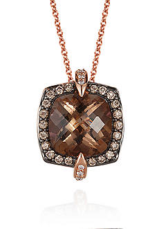 Le Vian® Chocolate Quartz®, Bubblegum Pink Sapphire™, Vanilla Diamonds®, and Chocolate Diamonds® Pendant Nec