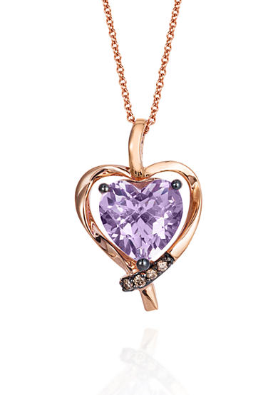 Le Vian® Cotton Candy Amethyst and Chocolate Diamonds Heart Pendant Necklace in 14k Strawberry Gold