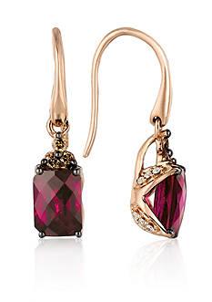 Le Vian Raspberry Rhodolite, Vanilla Diamond, & Chocolate Diamond Earrings in 14K Rose Gold