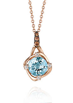 Le Vian Sea Blue Aquamarine, Vanilla Diamonds, and Chocolate Diamonds Pendant Necklace in 14k Strawberry Gold