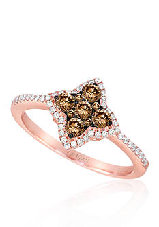 Le Vian® Chocolate Diamond® and Vanilla Diamond® Cluster Ring in 14k Strawberry Gold®