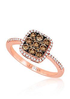 Le Vian® Vanilla Diamond and Chocolate Diamond Geometric Ring in 14k Strawberry Gold