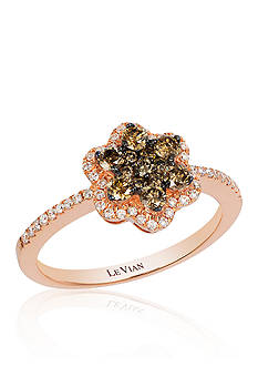 Le Vian Chocolate Diamond® and Vanilla Diamond® Flower Ring in 14k Strawberry Gold®