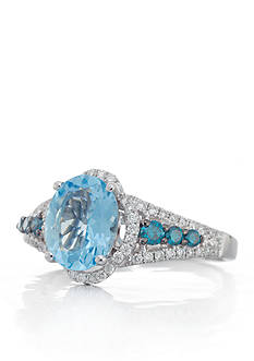 Le Vian Sea Blue Aquamarine®, Vanilla Diamond®, and Blueberry Diamond® Ring in 14k Vanilla Gold®